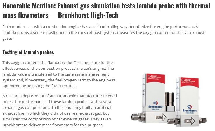 Press message - Honorable Mention Exhaust gas simulation tests