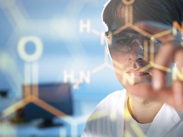 Man with glasses and chemical formula