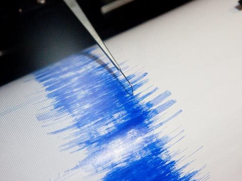 Earthquake Seismograph with blue drawing