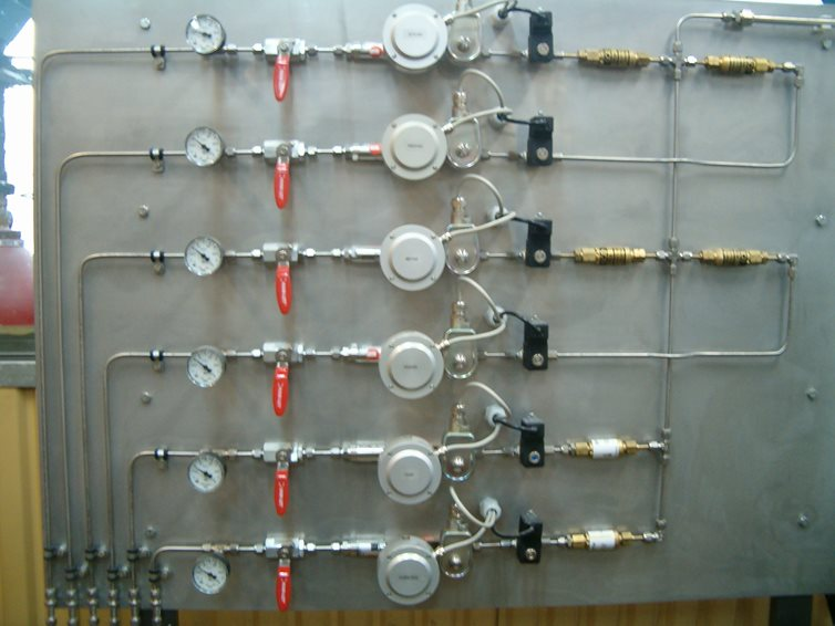 Mass flow controllers on a plate